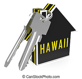 Hawaii Property Keys Shows Real Estate From American Island Paradise - 3d Illustration