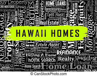 Hawaii Property Wordcloud Shows Real Estate From American Island Paradise - 3d Illustration