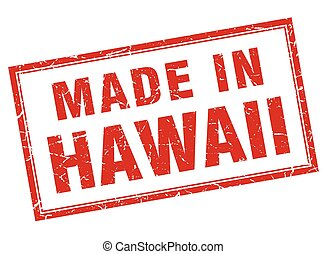 Hawaii red square grunge made in stamp