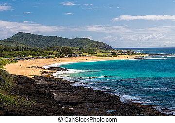 hawaii, sandstrand, oahu, sandig