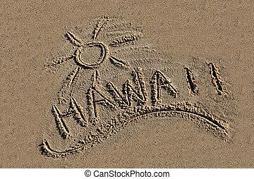hawaii, skriftligt, i sandet, stranden
