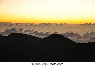 hawaii, sonnenaufgang, haleakala