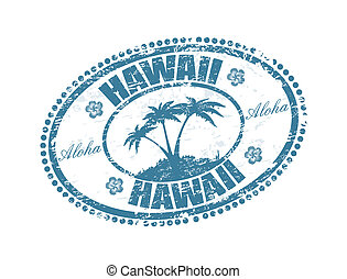 Hawaii stamp - Blue grunge rubber stamp with the palms shape...