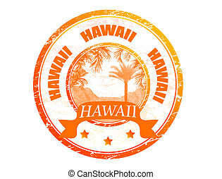 Hawaii stamp - Grunge rubber stamp with palms and the word...