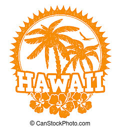 Hawaii travel rubber stamp on white, vector illustration