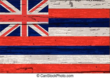 Hawaii State Flag On Old Timber