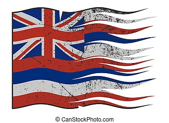 Hawaii State Flag Wavy And Grunged