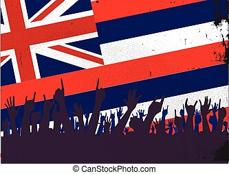 Hawaii State Flag with Audience