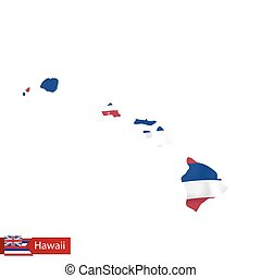 Hawaii state map with waving flag of US State.