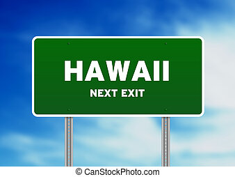 High resolution graphic of a green Hawaii street sign on cloud background.