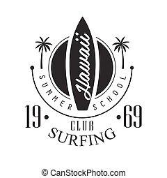 Hawaii surfing club summer school logo template, black and...