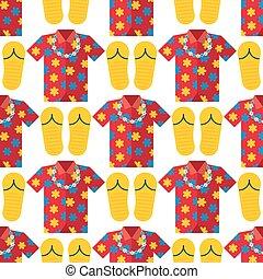 Hawaii t-shirt summer vector clothe and beach slippers...
