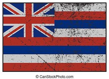 hawaii tillstånd, flagga, grunged