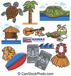 Hawaii travel destination landmarks and famous tourism...
