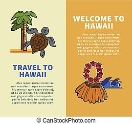 Hawaii travel famous landmark vector posters