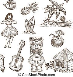 Hawaii travel sketch pattern background. Vector seamless tropical exotic design of Hawaiian symbols
