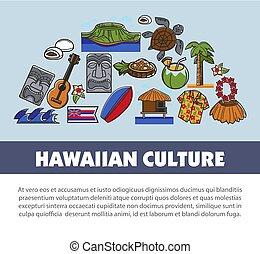 Hawaii travel symbols and vector tourism landmarks