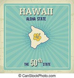 Hawaii travel vintage grunge poster