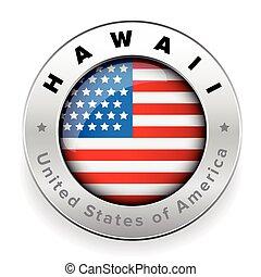 Hawaii Usa flag badge button