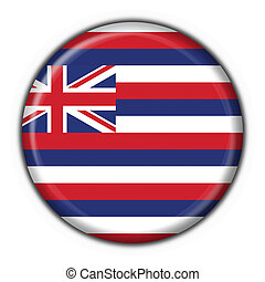Hawaii (USA State) button flag round shape