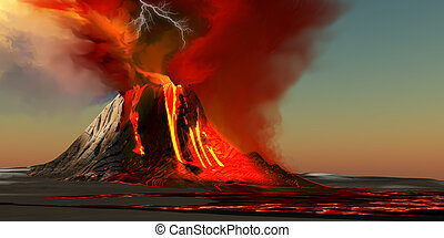 Hawaii Volcano - The Kilauea volcano erupts on the island of...