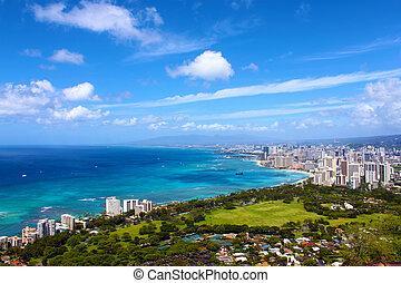 hawaii, waikiki strand, szenerie, von, gebirgs oberseite