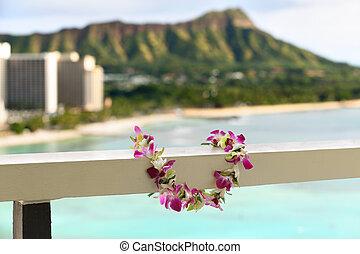 Hawaii Waikiki travel lei flower necklace concept