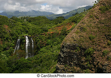 Hawaii Waterfall in Mountains