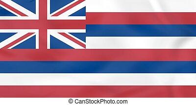 Hawaii waving flag. Hawaii state flag background texture.