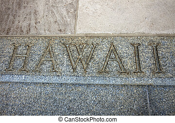 Hawaii word on the stairs