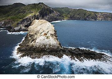 hawaiian , βραχώδης , coast.