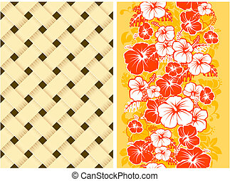 hawaiian, 꽃의, seamless, 배경