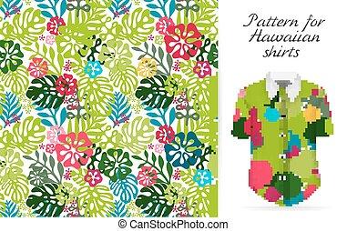 Hawaiian aloha shirt. an icon in a flat style isolated on...