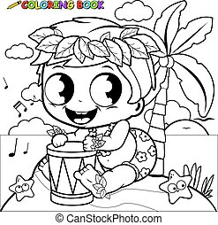 Hawaiian baby boy on an island playing music with a drum. Vector coloring page