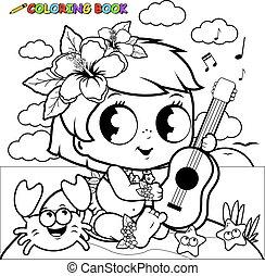 Hawaiian baby girl on an island playing the ukulele. Coloring book page