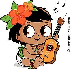 Hawaiian baby girl playing the ukulele. Vector illustration...