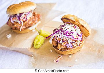 Hawaiian BBQ Chicken Sandwich - Shredded barbeque chicken...