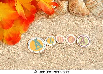 hawaiian beach background with aloha written in tropical...