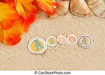 hawaiian beach background with aloha written in tropical...
