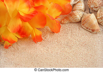 hawaiian beach background with tropical sand, seashells and...
