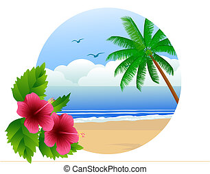 hawaiian beach - vector illustration of tropical beach