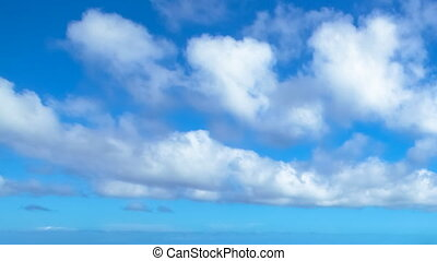 Hawaiian blue cloudy sky with moving clouds time lapse in 4K...