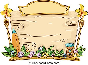 Illustration Featuring a Blank Board with a Hawaiian Theme