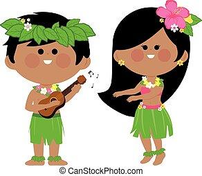 Hawaiian children playing music and hula dancing. Vector ...
