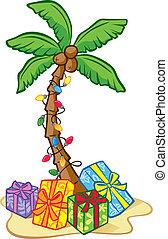 Hawaiian Christmas Tree - Illustration of a Coconut Tree...