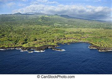 Hawaiian coastline. - Aerial of Maui, Hawaii coastline with ...