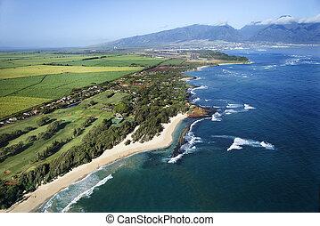 Hawaiian coastline. - Aerial view of Maui, Hawaii coastline ...