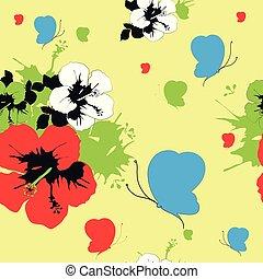 Hawaiian flowers, butterflies, watercolor, exotic plants, pattern