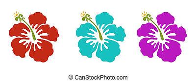 hawaiian flowers set, red green and purple