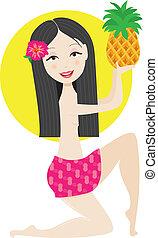 Hawaiian Girl - A Hawaiian girl in a pink skirt, has a pink...